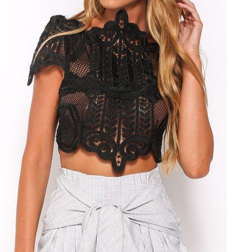Faith Black Lace Crop Top