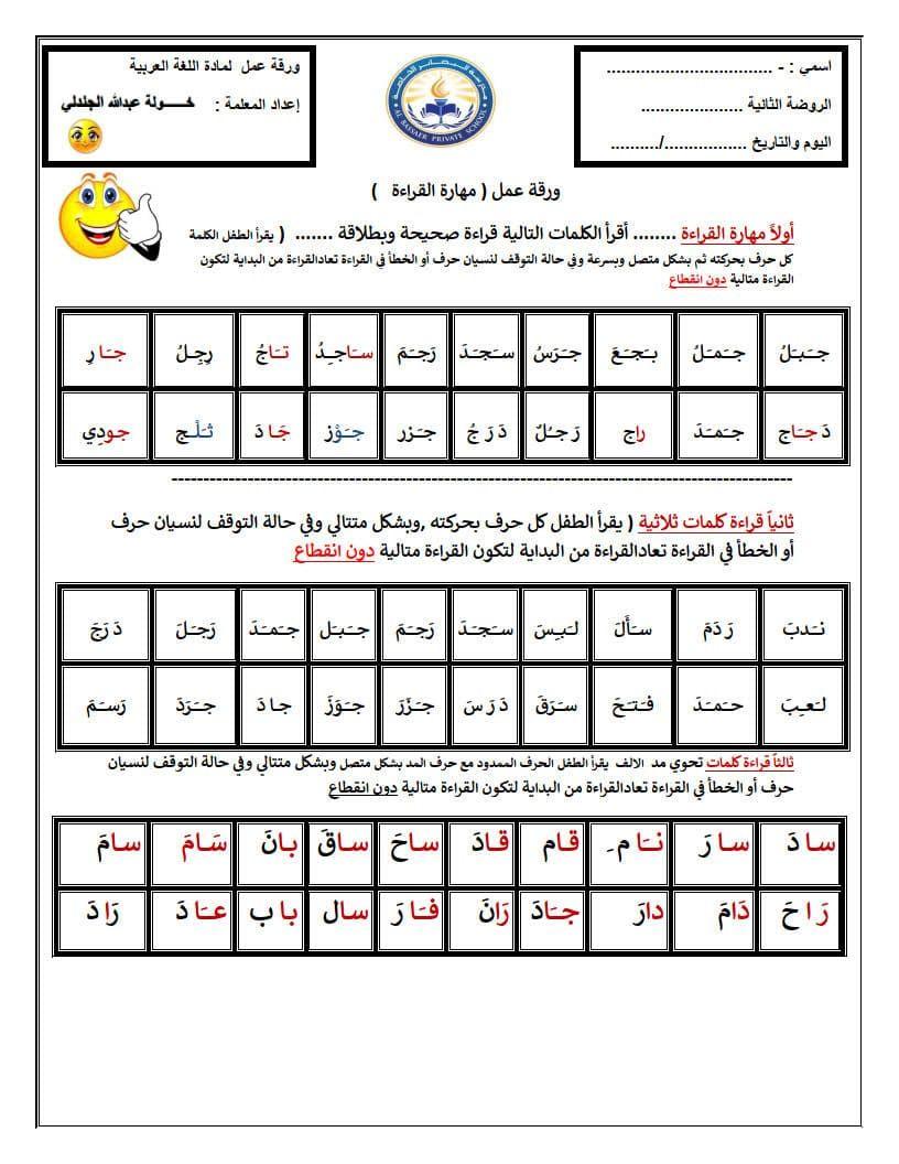 أوراق عمل مهارات قراءة اللغة العربية لتدريب الطلاب Periodic Table Education Diagram