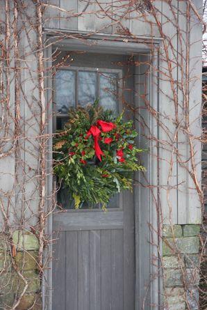 Prim Holiday Door...wreath.