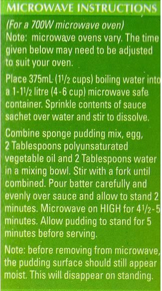 Greens Chocolate Self Saucing Pudding Microwave Instructions