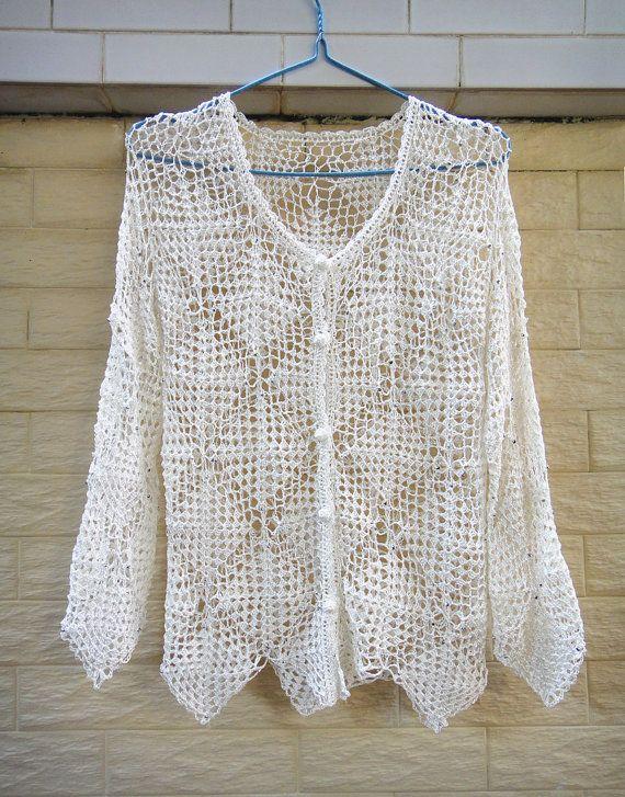 Granny Square White Crochet Cardigan Button Down Hırka Yeleks