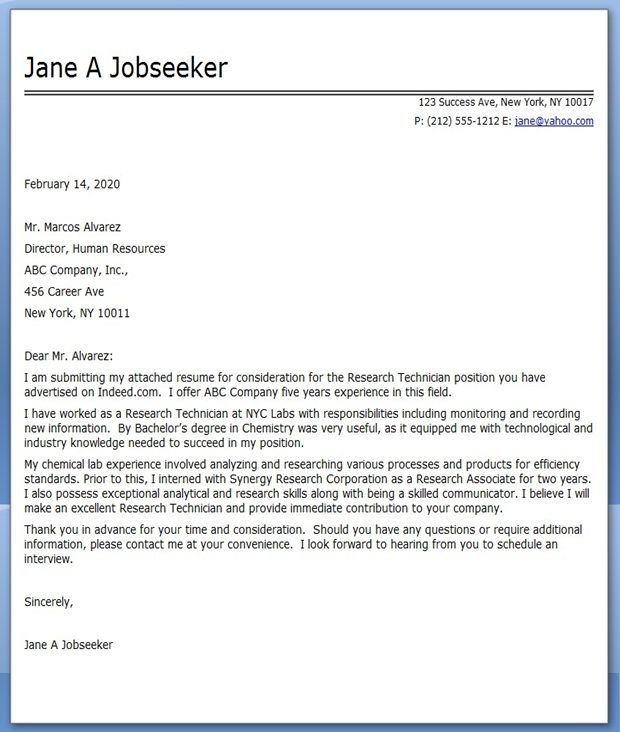 Cover Letter Research Technician | Cover letter for resume ...