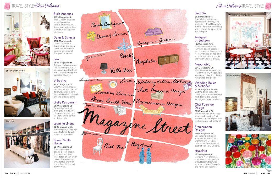 Magazine Street New Orleans Map.Pretty Map New Orleans Shopping Inspiring Layout Pinterest