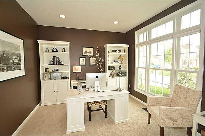 Traditional Home Office With Carpet Naples White Finish Pedestal Desk Sauder Cottage Road Library