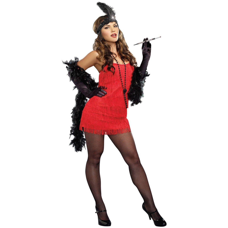 20s Red Flapper Dress Women's Adult Halloween Costume