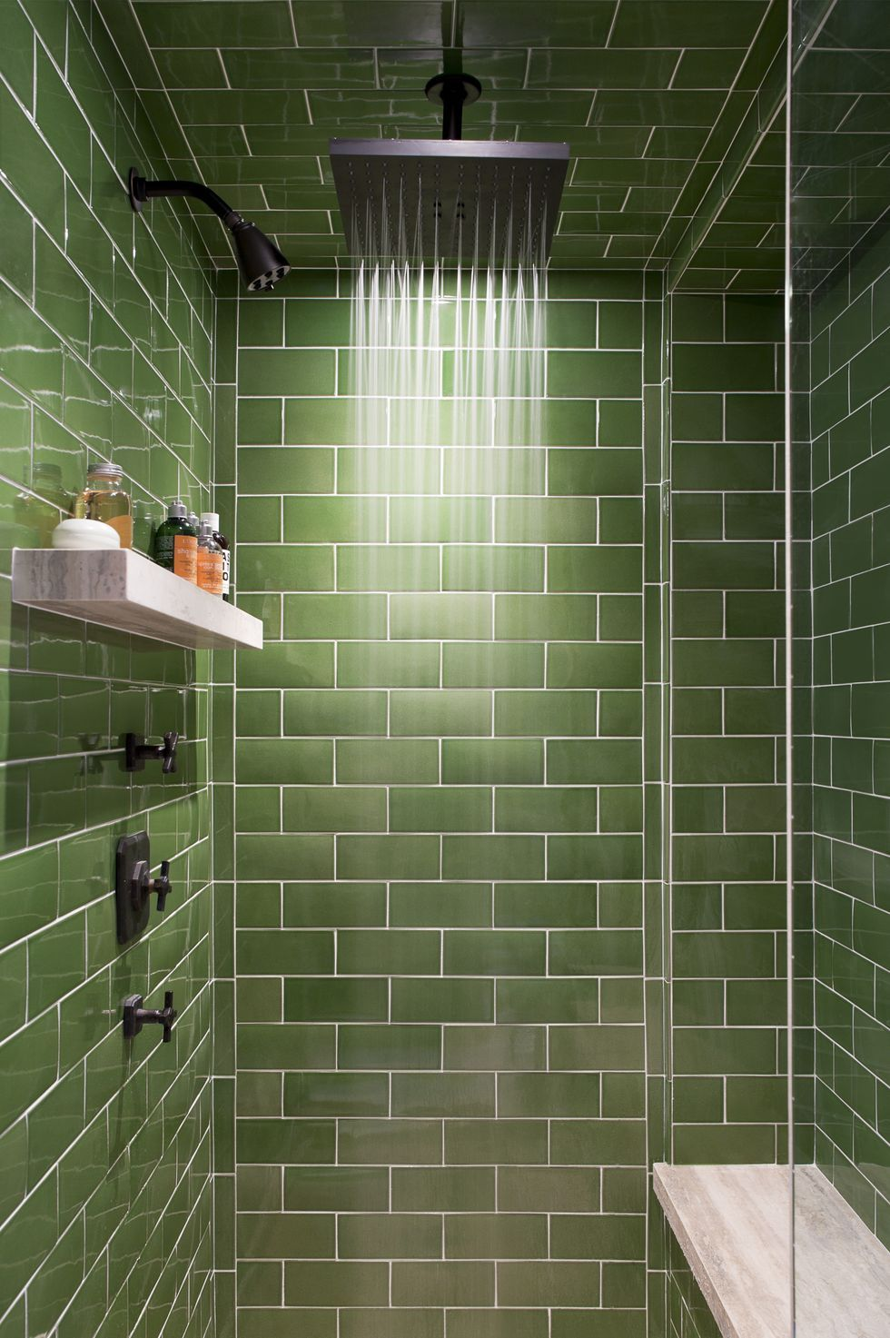 These Creative Bathrooms Prove The Power Of Blue And Green Tile Green Shower Tile Brown Tile Bathroom Custom Tile Shower