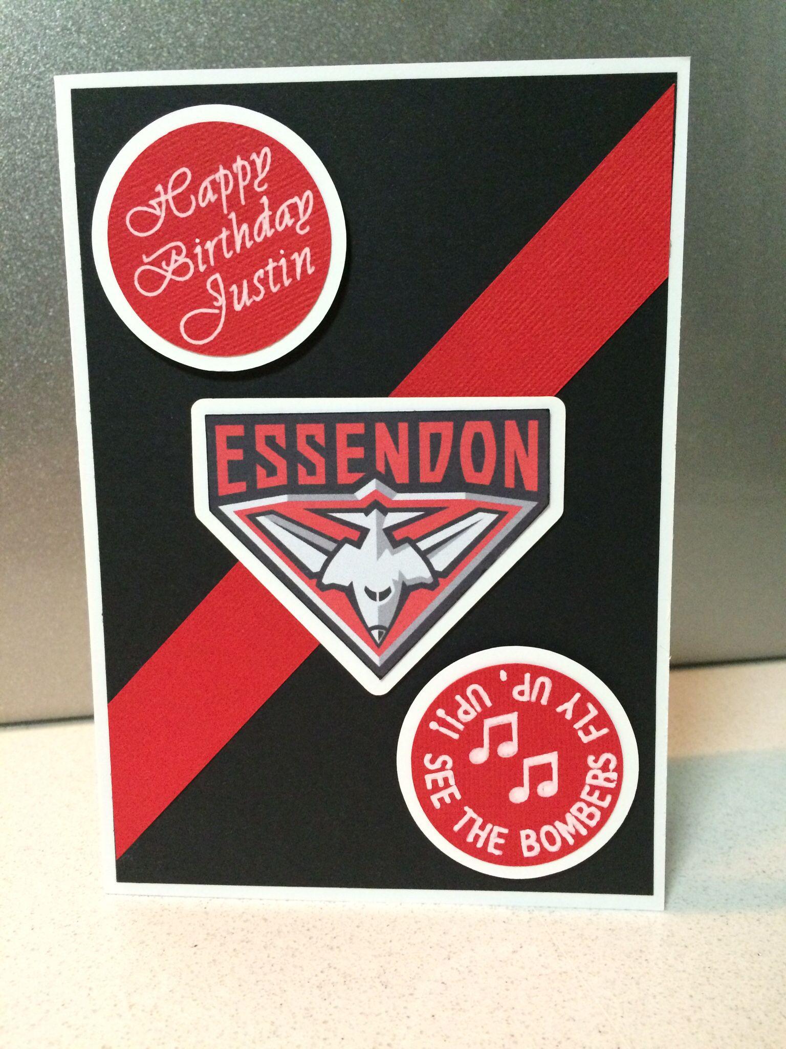 Essendon Football Club Birthday Card Afl Cards Handmade Birthday Cards Cards
