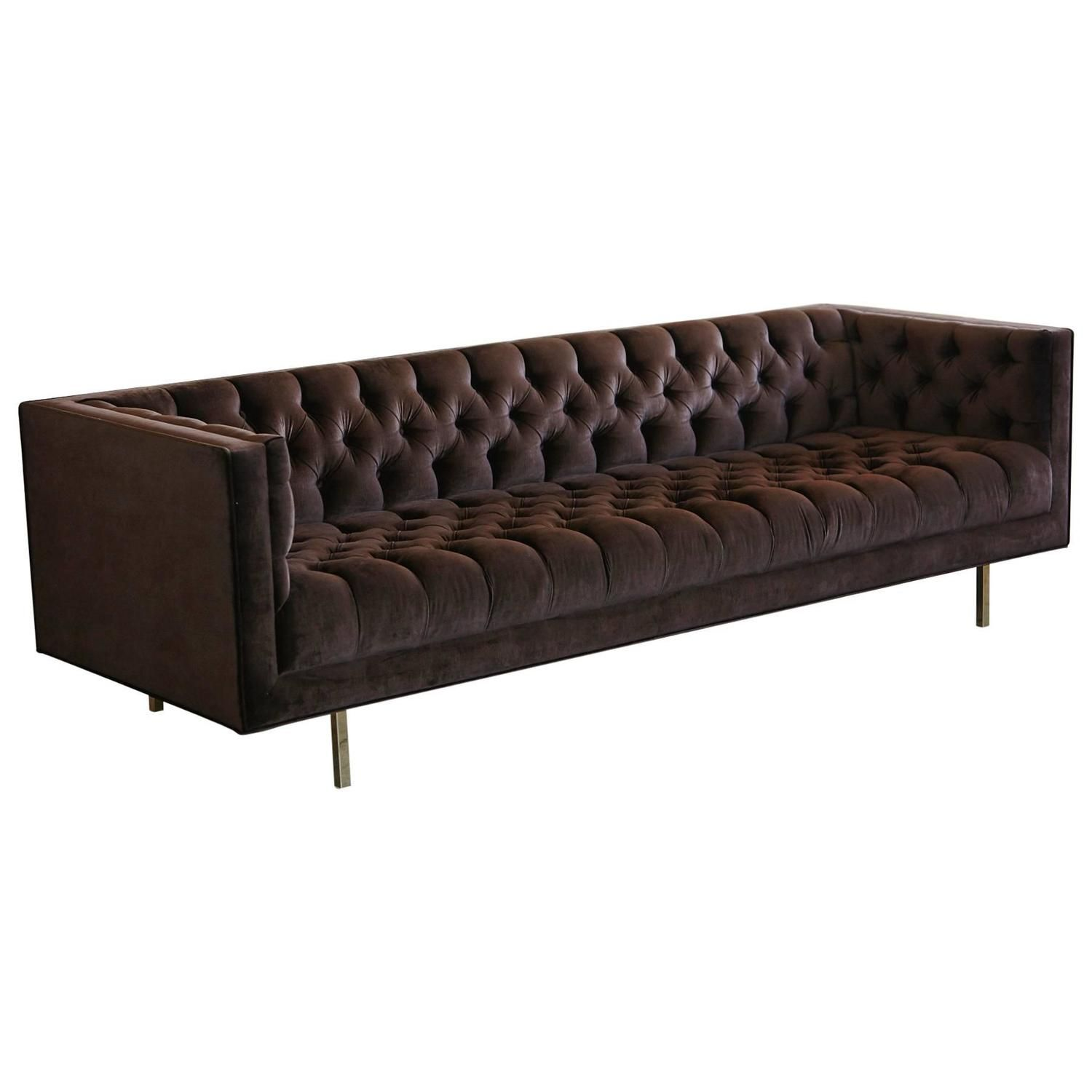 Modern Deeply Button Tufted Velvet Custom Tuxedo Sofa By Las Venus
