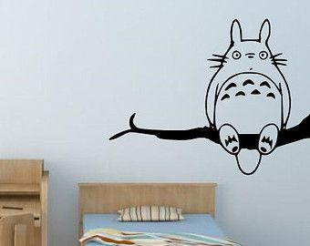 Totoro Sitting On Tree Branch Cute Anime Vinyl Decals For Wall Decor, Car  Decal Kid Room Wallpaper Sticker
