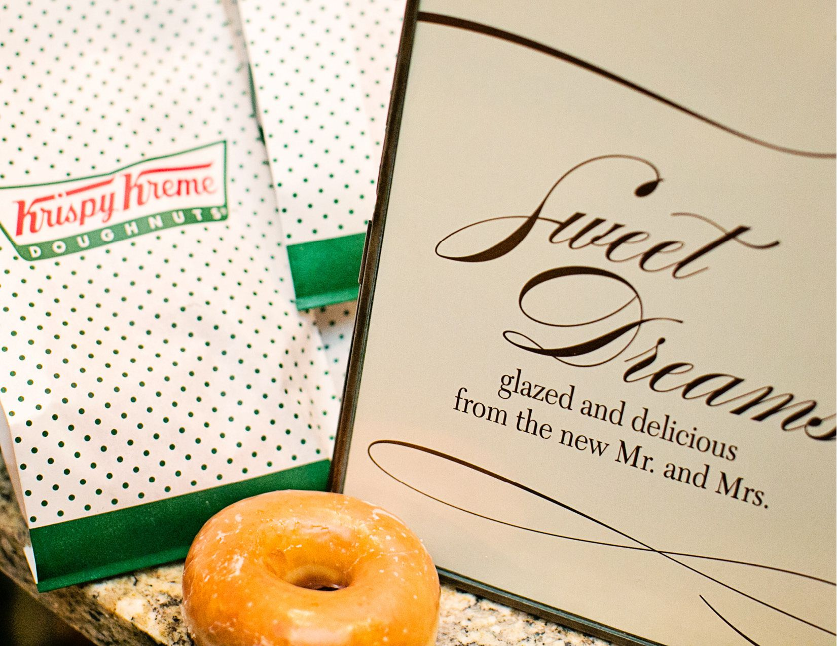 Late night treat from Krispy Kreme at wedding reception #MarieeAmi ...