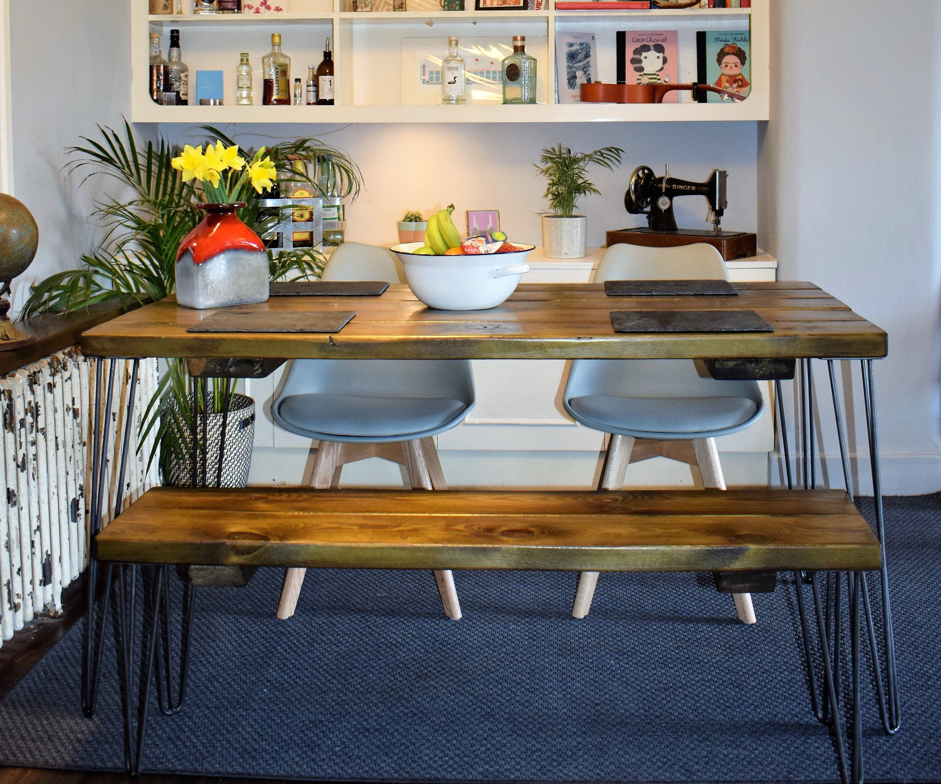 Reclaimed Wood Hairpin Leg Industrial Rustic Kitchen Table Bench