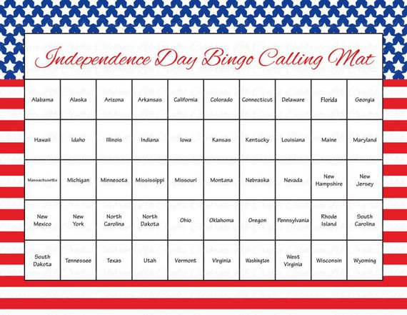 image relating to Printable Bingo Chips known as 60 4th of July Printable Bingo Playing cards - Patriotic 50 US