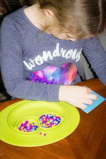 EzPz minimats are not only good for the little ones meals but Dawn loves using them for craft time. There was only a half day at school today so they were perfect for sorting her beads during crafts this afternoon! The suction keeps them from sliding all over the table when elbows hit them!