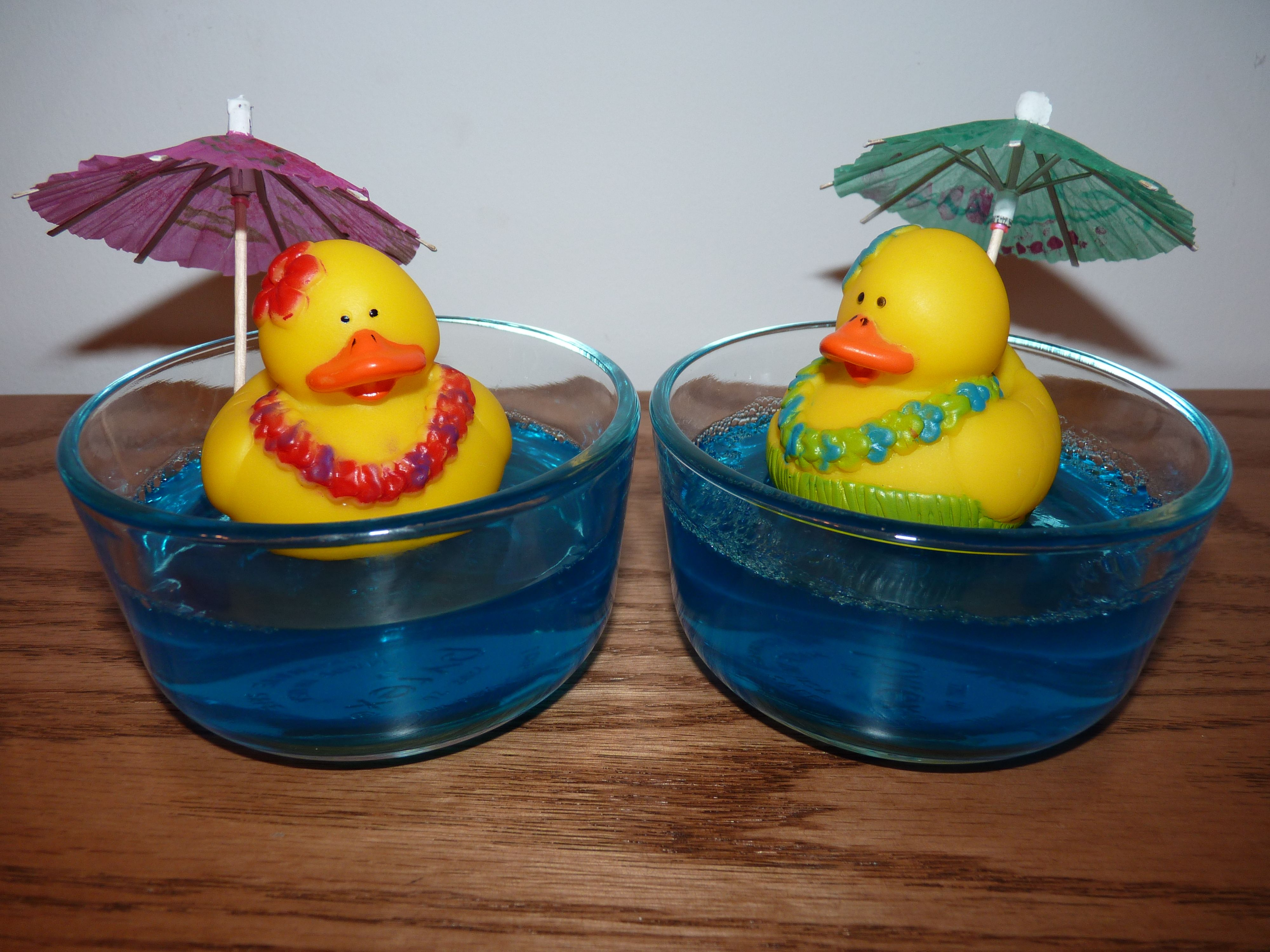 made this for our beach theme meal blue jello rubber ducks