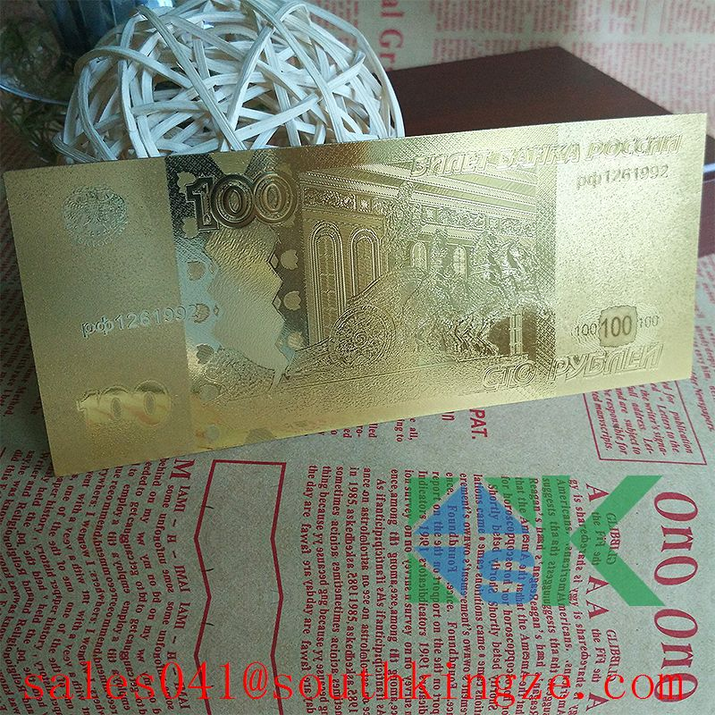 Russian Colorful 24k Gold Foil Gold Banknote Creative 100 Ruble Metal Crafts