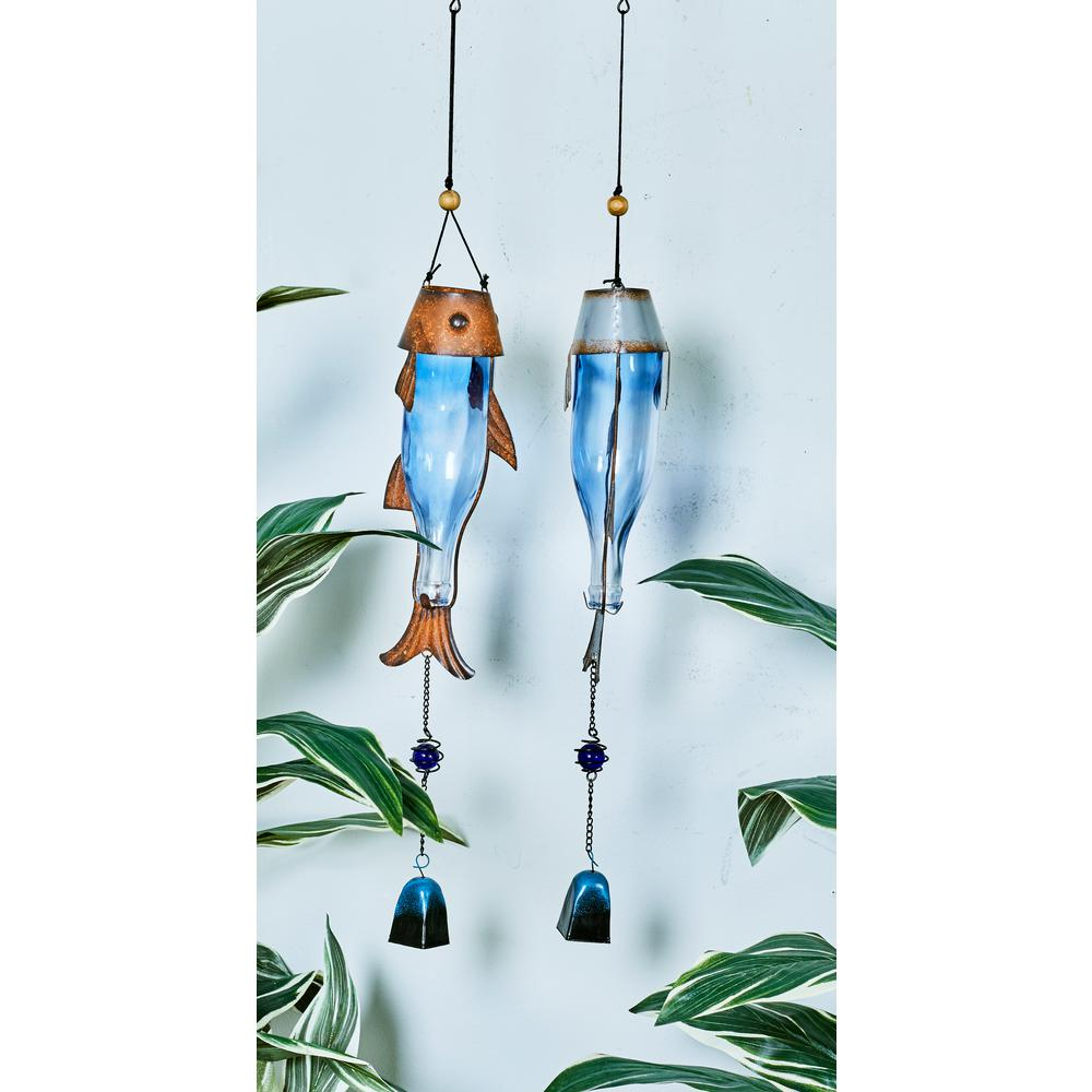 Litton Lane 32 In Blue Glass And Rust Finished Iron Fish And Lure Wind Chimes Set Of 2 76795 The Home Depot Glass Wind Chimes Wind Chimes Wine Bottle Wind Chimes