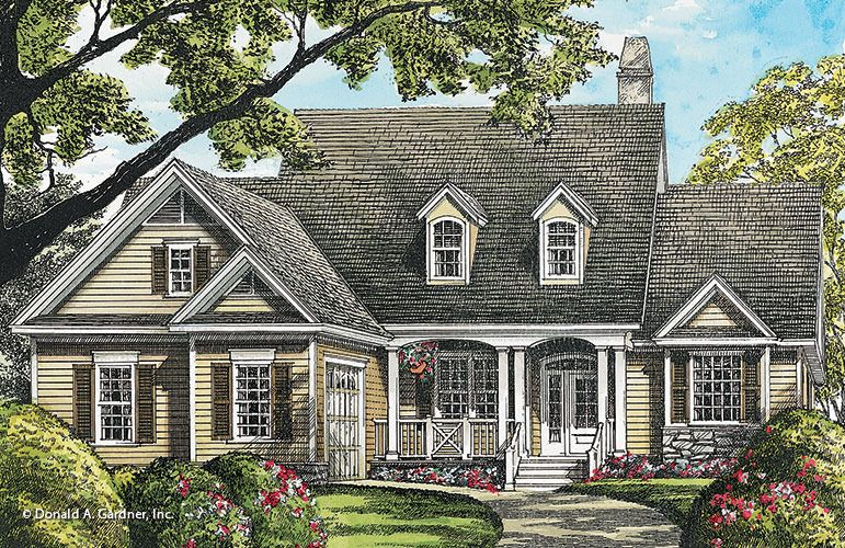Home Plan The Kirkaldie By Donald A Gardner Architects Cottage House Exterior Cottage House Plans Narrow Lot House Plans
