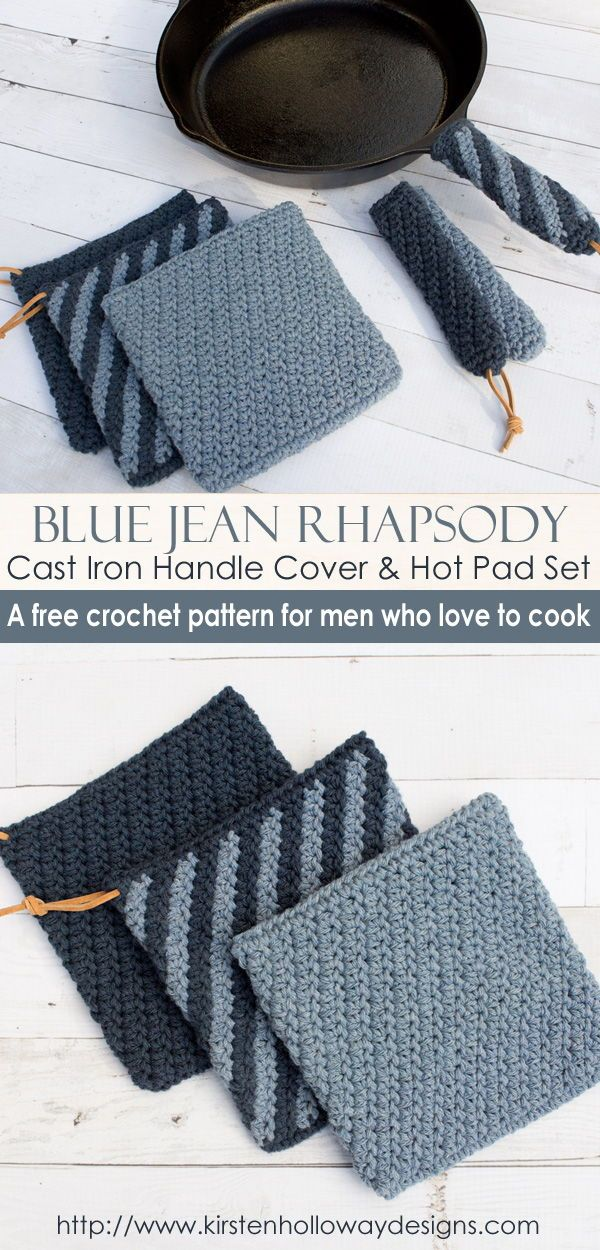 Blue Jean Rhapsody Crochet Cast Iron Handle Cover and Hot Pad Set ...