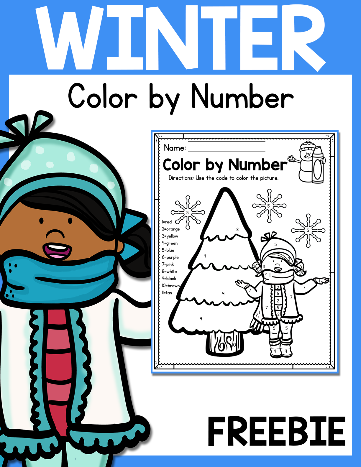 Freebie Winter Color By Number Printable