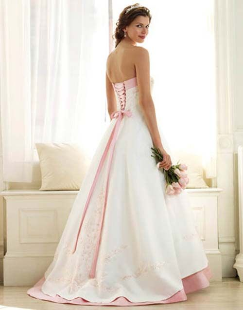 Bridal gowns with pink color accents and romantic for Wedding dresses with color accents