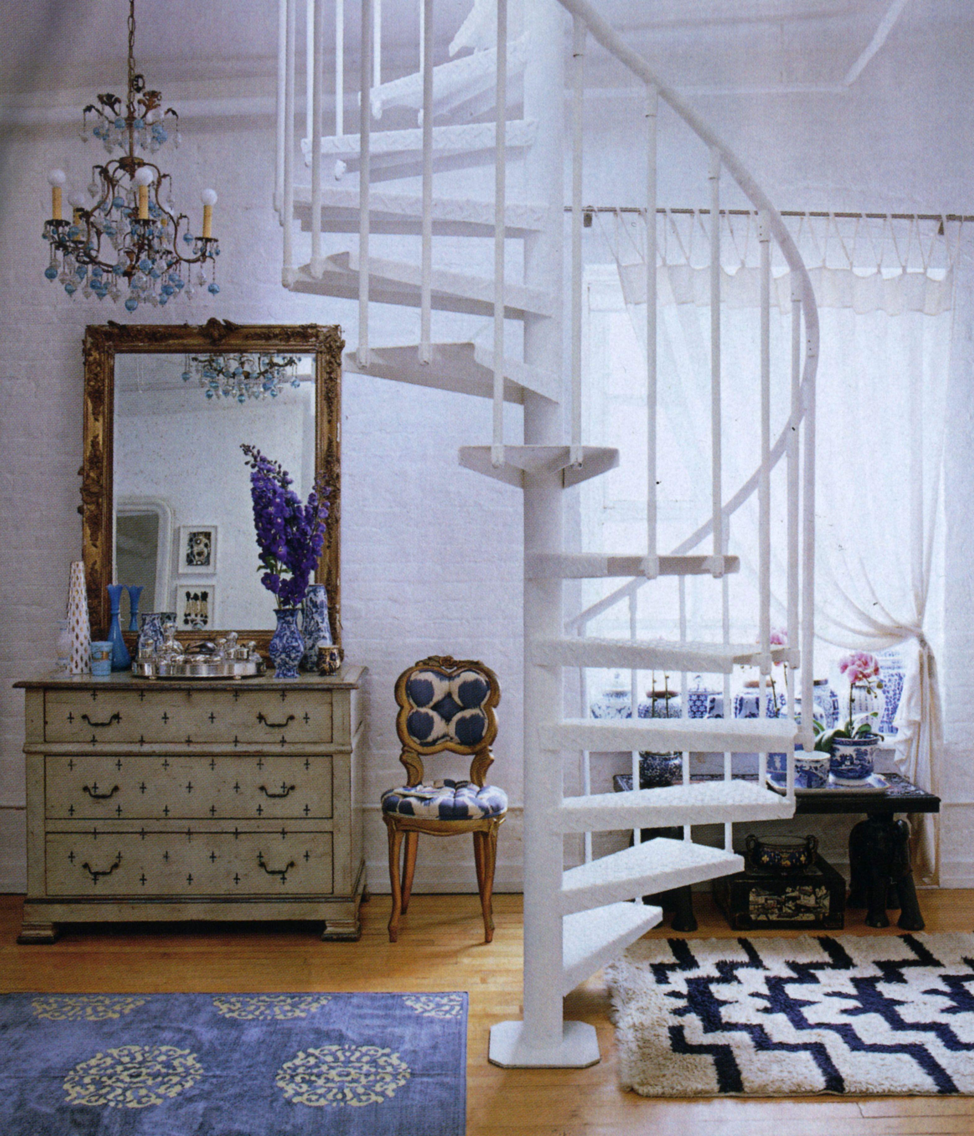 Blue tufted slipper chair - Madeline Weinrib Vintage Moroccan Carpet Antoinette Mandala Chenille Metallic Carpet And French Tufted Slipper