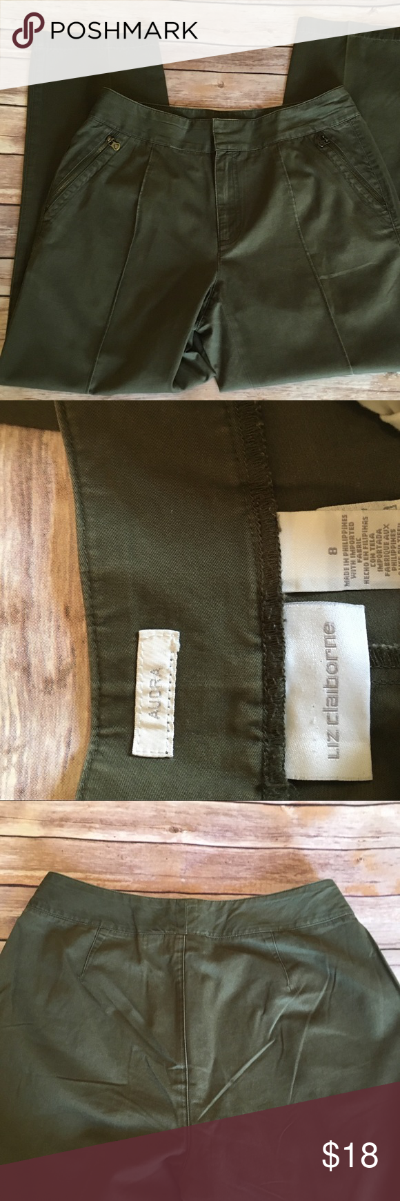 "Olive Green Liz Claiborne Pants Olive green pants. Size 8. Very comfortable and easy to care for. Great alternative to jeans.  100% cotton  Waist: 15.5"" Hip: 19"" Rise: 10"" Inseam: 27"" Total length: 37"" Leg opening: 7.5  Bn1 Item# P08 Liz Claiborne Pants Skinny"