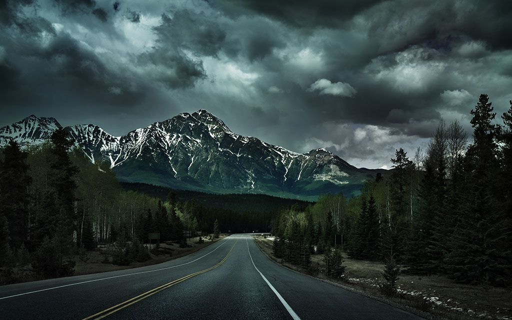 Forbidden Road Wallpaper By Mohsen Kamalzadeh From Interfacelift My Surrealistic Take On A Cloudy Afternoon At The Canadian Rockies