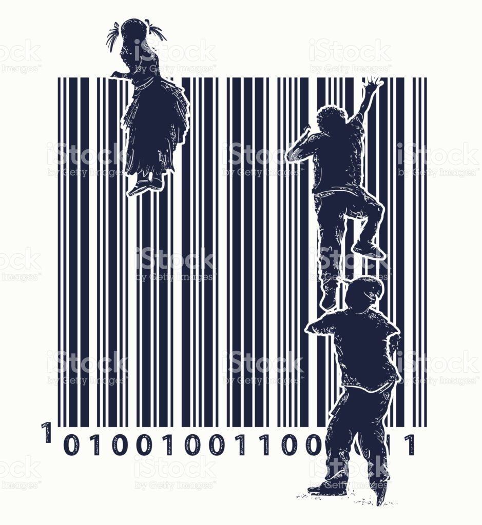 Bar Code Tattoo Children Climb Over Fence Symbol Of Freedom And