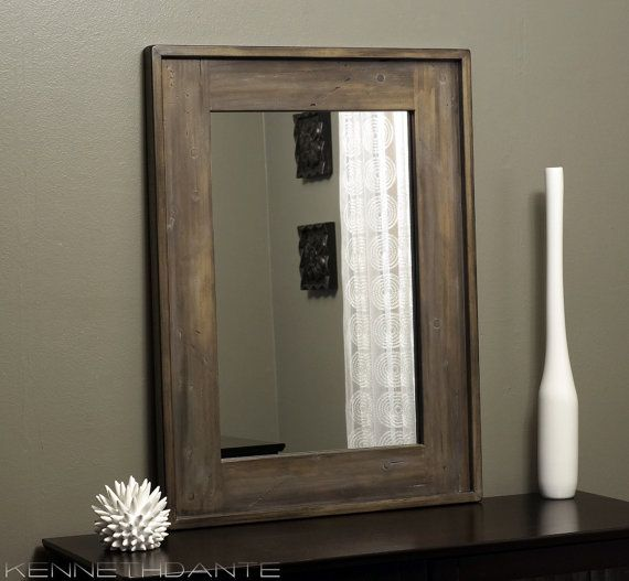 Rustic Wood Framed Mirror Distressed Farmhouse Barn Weathered Brown Taupe