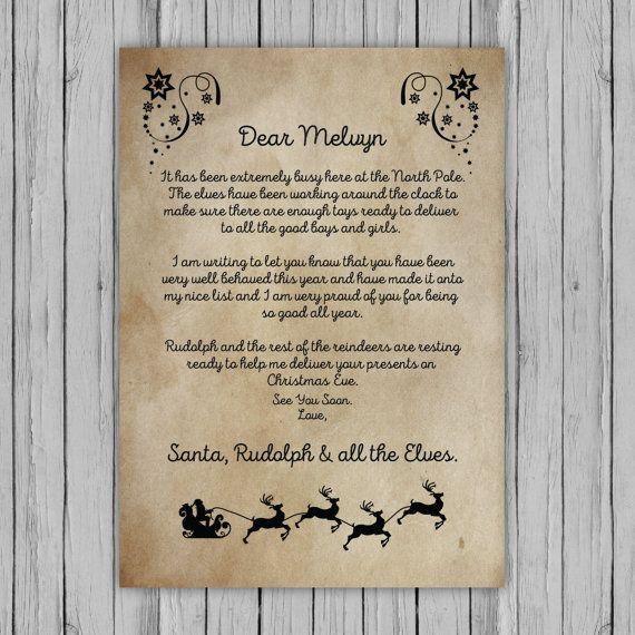 Personalised Santa Letter Santa Nice List Certificate Santa