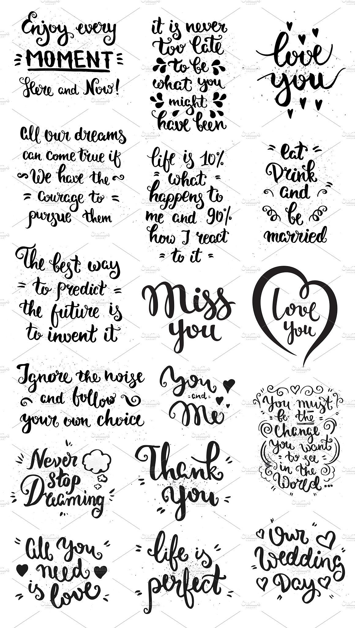 50 Vintage Lettering Poster Set by Qilli on Creative Market