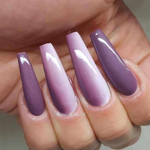 Long coffin nails with Simple purple ombre design. Pretty nails by ...