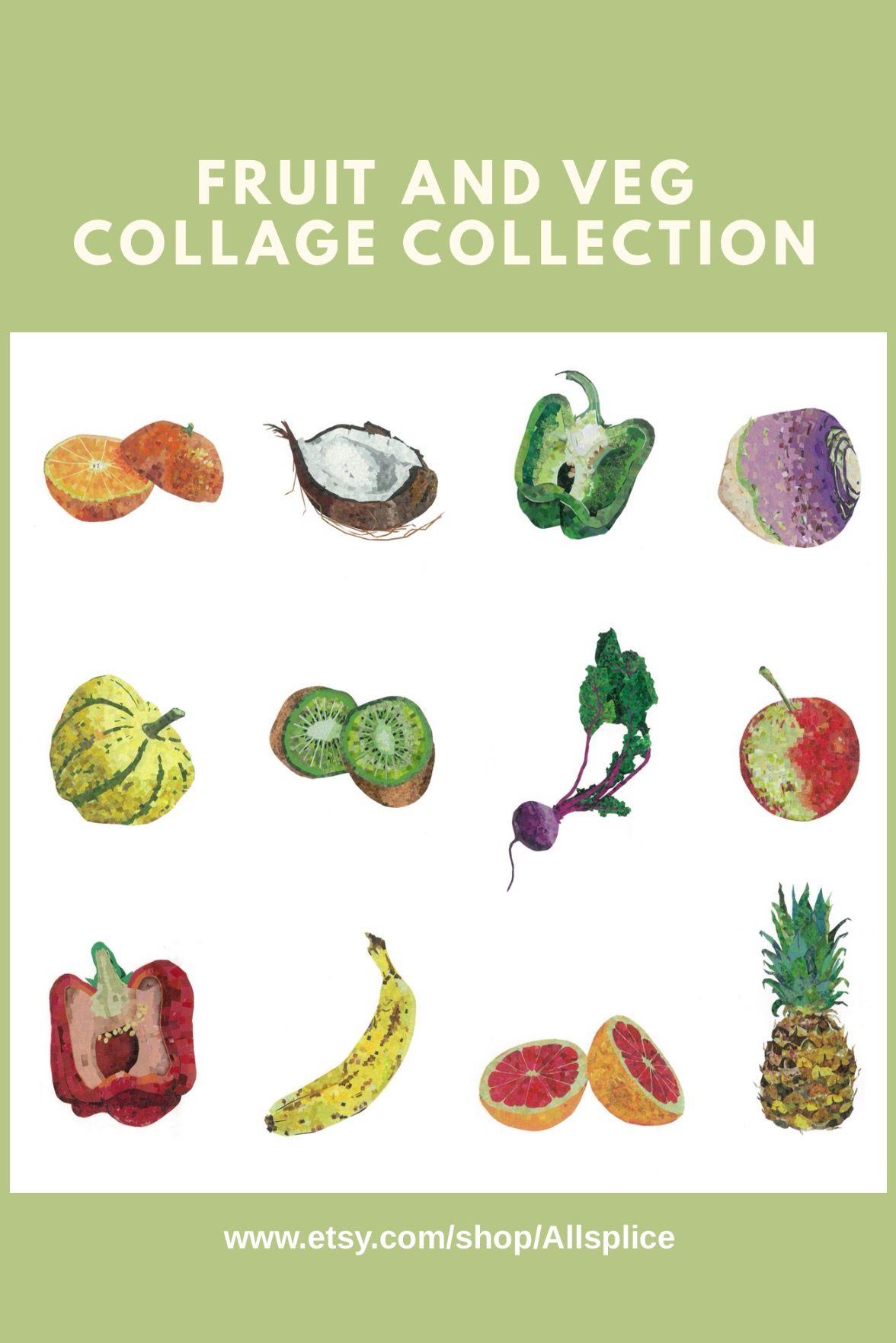c425181f598cc Fruit and vegetable collection - Pop Art pixel fine art collage ...