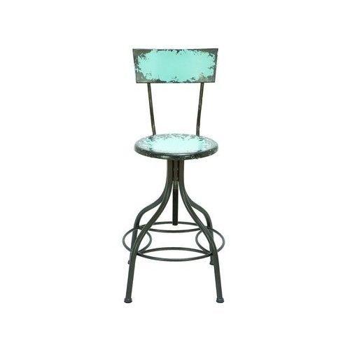 Rustic Bar Stool Adjustable Swivel Chair Industrial Vintage Blue Metal  Armlessu2026