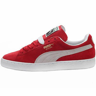 Puma Suede Classic+ Mens 352634 65 Red White Athletic Shoes