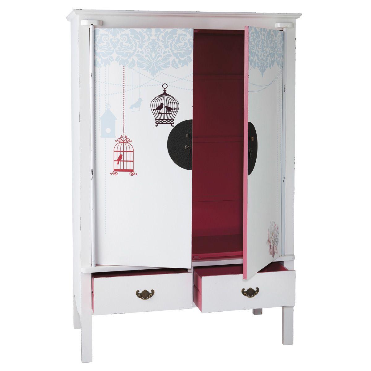 Kinderkleiderschrank aus Holz, B 120 cm, weiß/rosa Jade | Möbel ...