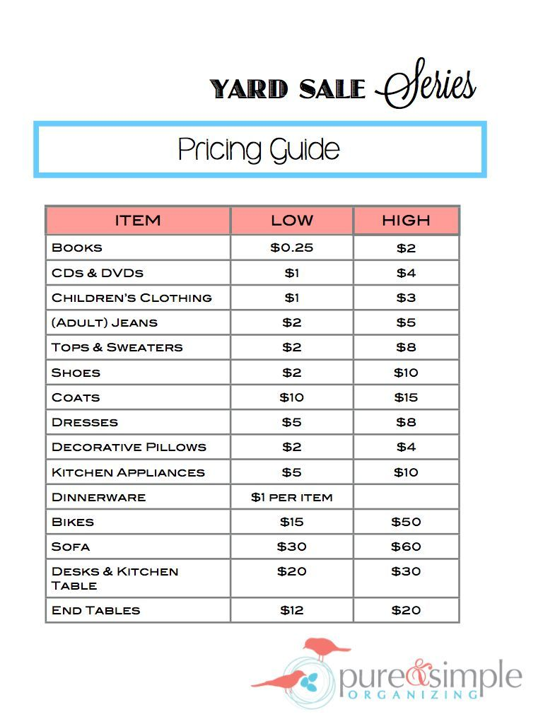 Learn how to host the very best garage sale ever - Yard Sale Series Pricing Guide 001