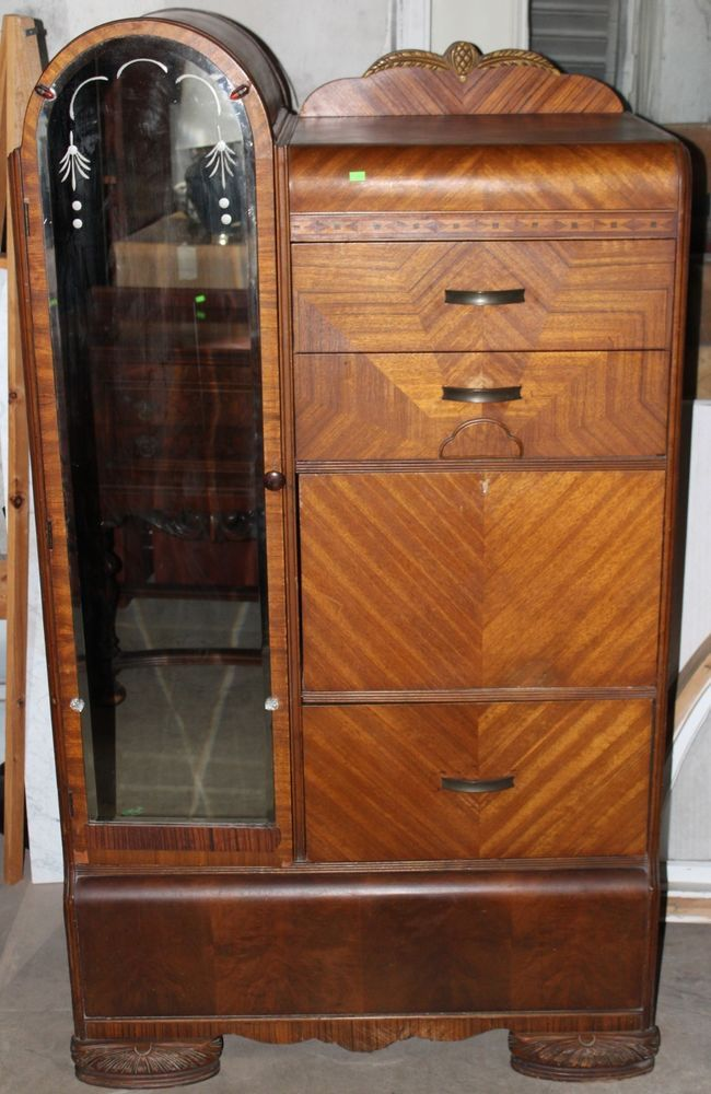 Delightful Art Deco Waterfall Armoire