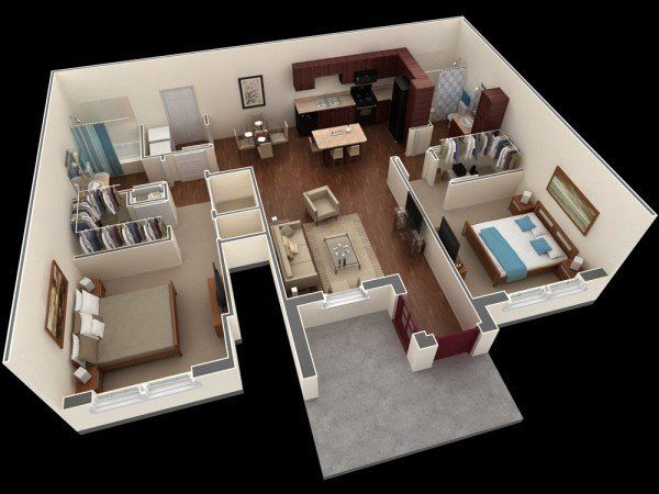 20 Interesting Two Bedroom Apartment Plans Home Design Lover Small House Plans Studio Apartment Floor Plans House Plans