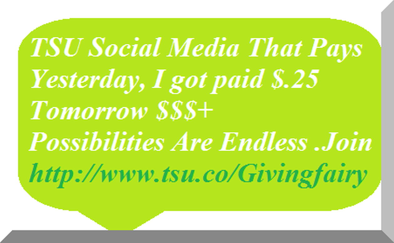 New Social media that pays members to post,like, tweet, share, comment. By invitation only. Click to join                http://www.tsu.co/Givingfairy