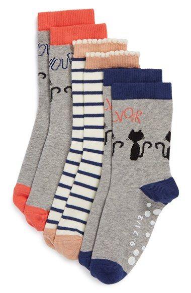 Tucker + Tate 'Bonjour' Nonskid Crew Socks (3-Pack) (Toddler & Little Kid) available at #Nordstrom
