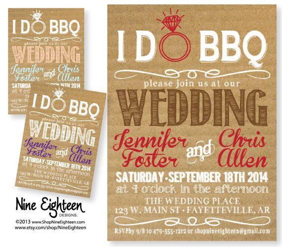 IDo BBQ Wedding Invitation. Kraft/Cardboard Look. By