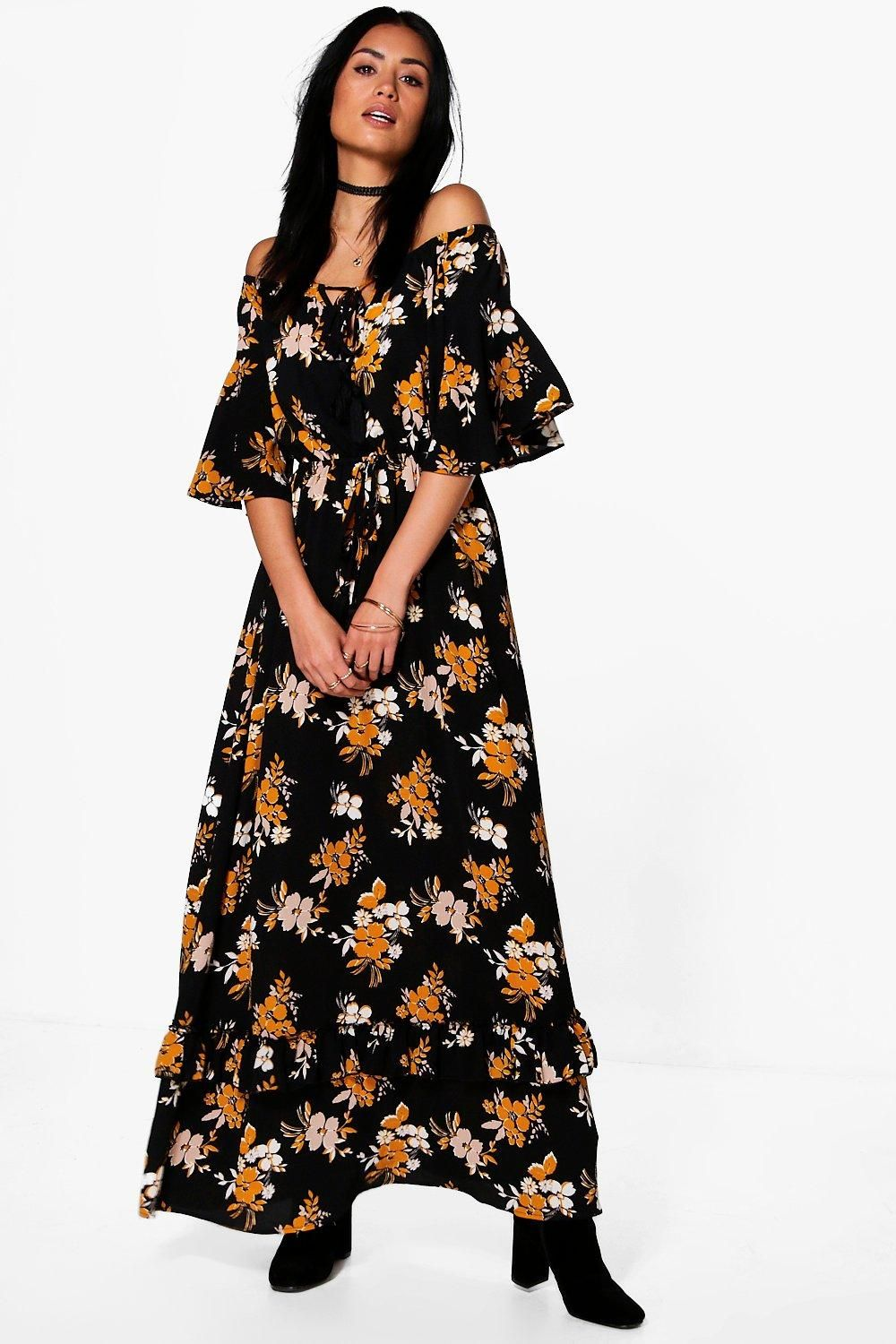 Hollie floral off shoulder ruffle maxi dress bodycon style boohoo