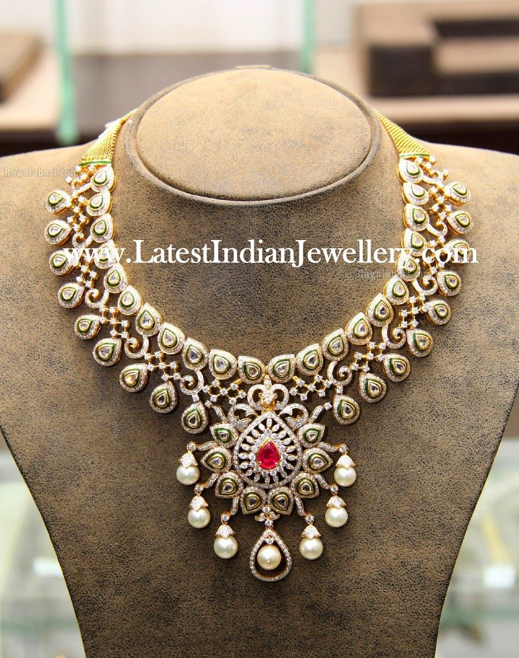 set and changeable jewellery designs necklace pin diamond stone stones indian latest bridal
