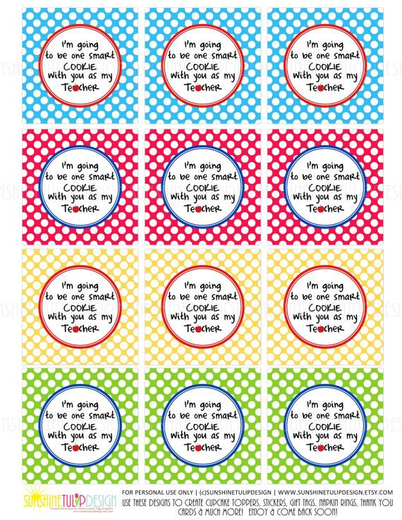 picture about Printable Teacher Gift Tags called Printable 1 Sensible Cookie Reward Tags, Printable Instructor