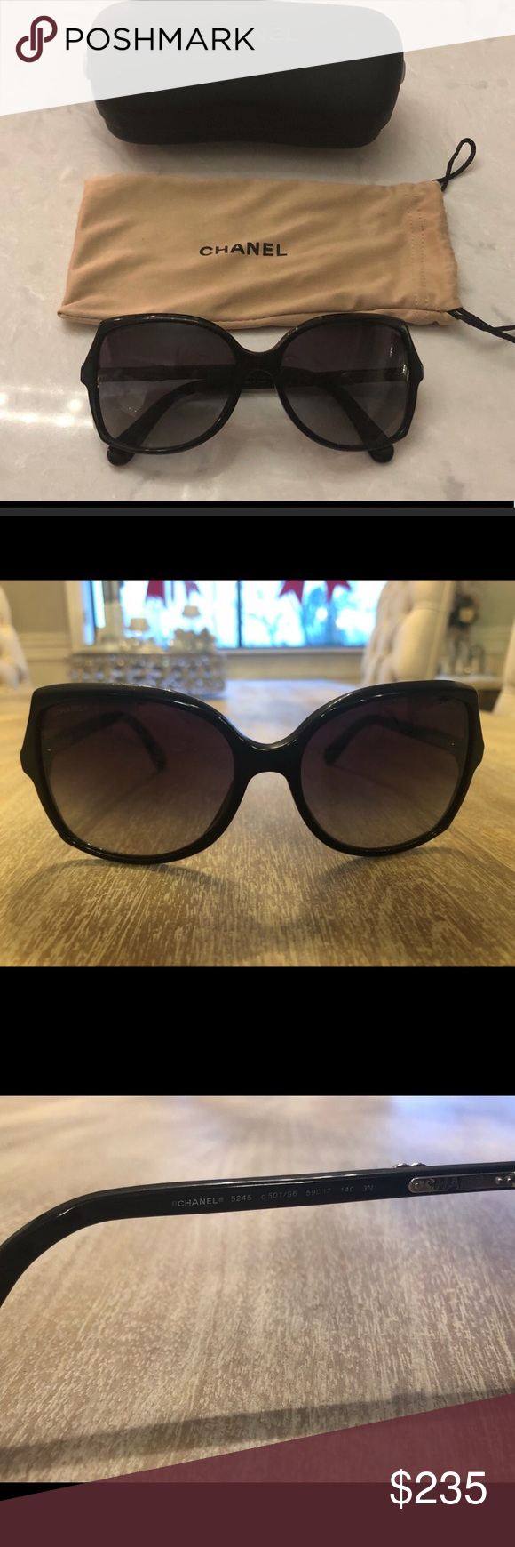 3264d1c3ea7f CHANEL SUNGLASSES Black Chanel sunglasses, gently used condition. Some  scratches on frame from normal wear and tear. Case and dust bag included  CHANEL ...