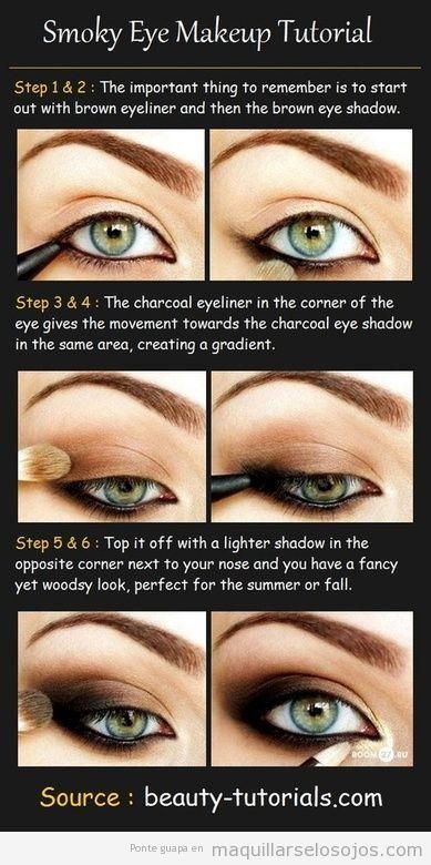 tutorial con fotos paso a paso para pintarse ojos ahumados Eye