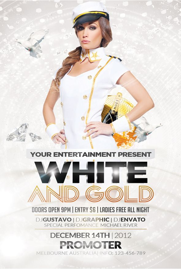 Free White And Gold Party Flyer Templateu2026  Advertisement Flyer Maker