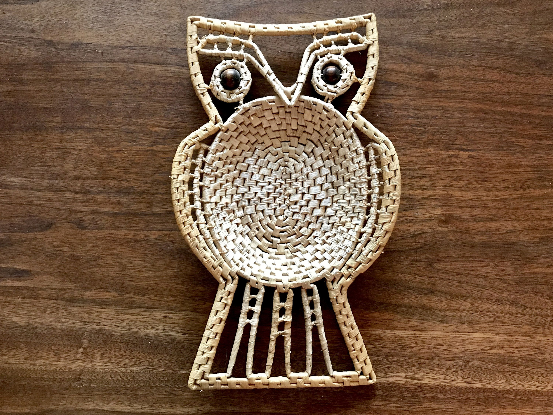 S woven wicker rattan owl bowl trivet wall art large bead eyes