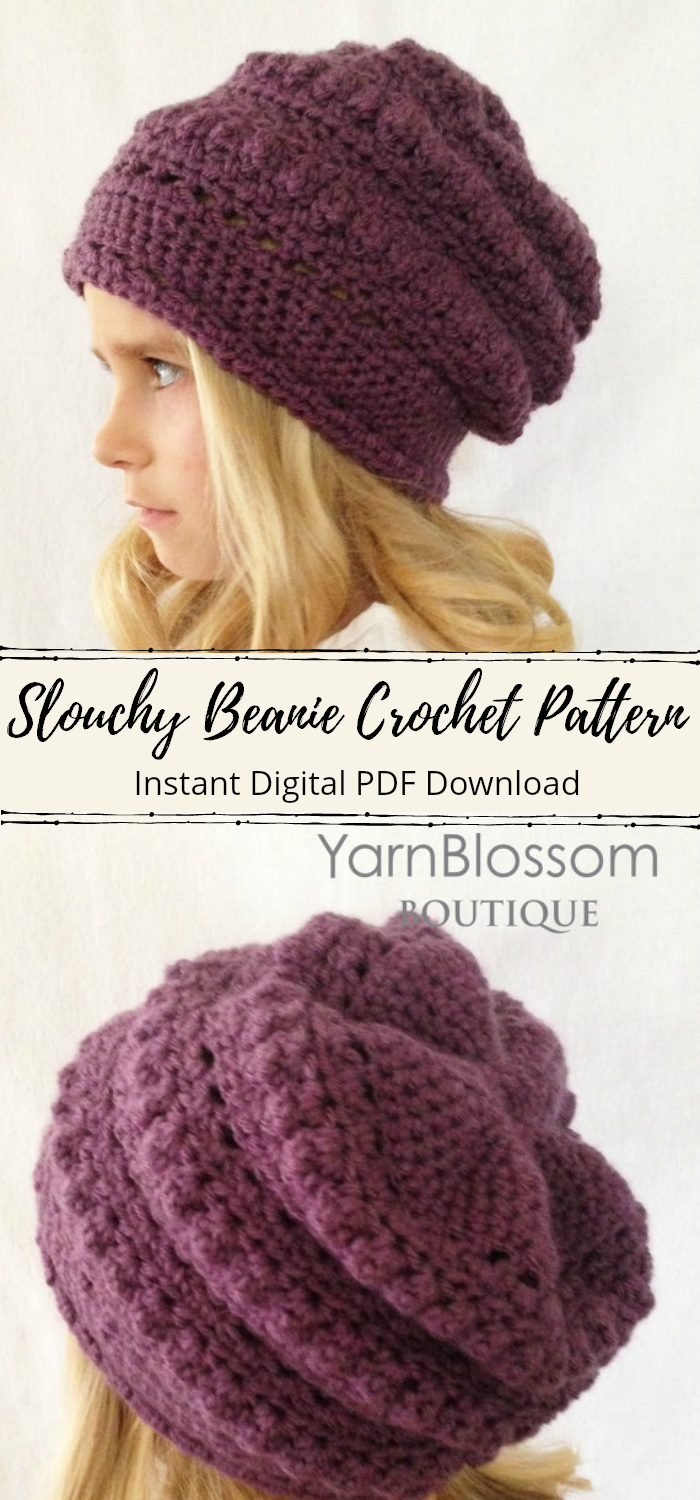 769b49b563e Slouchy beanie crochet pattern. I love this textured look. It looks so  cozy!  etsy  crochet  pattern  toque  winterhat  beanie  ad